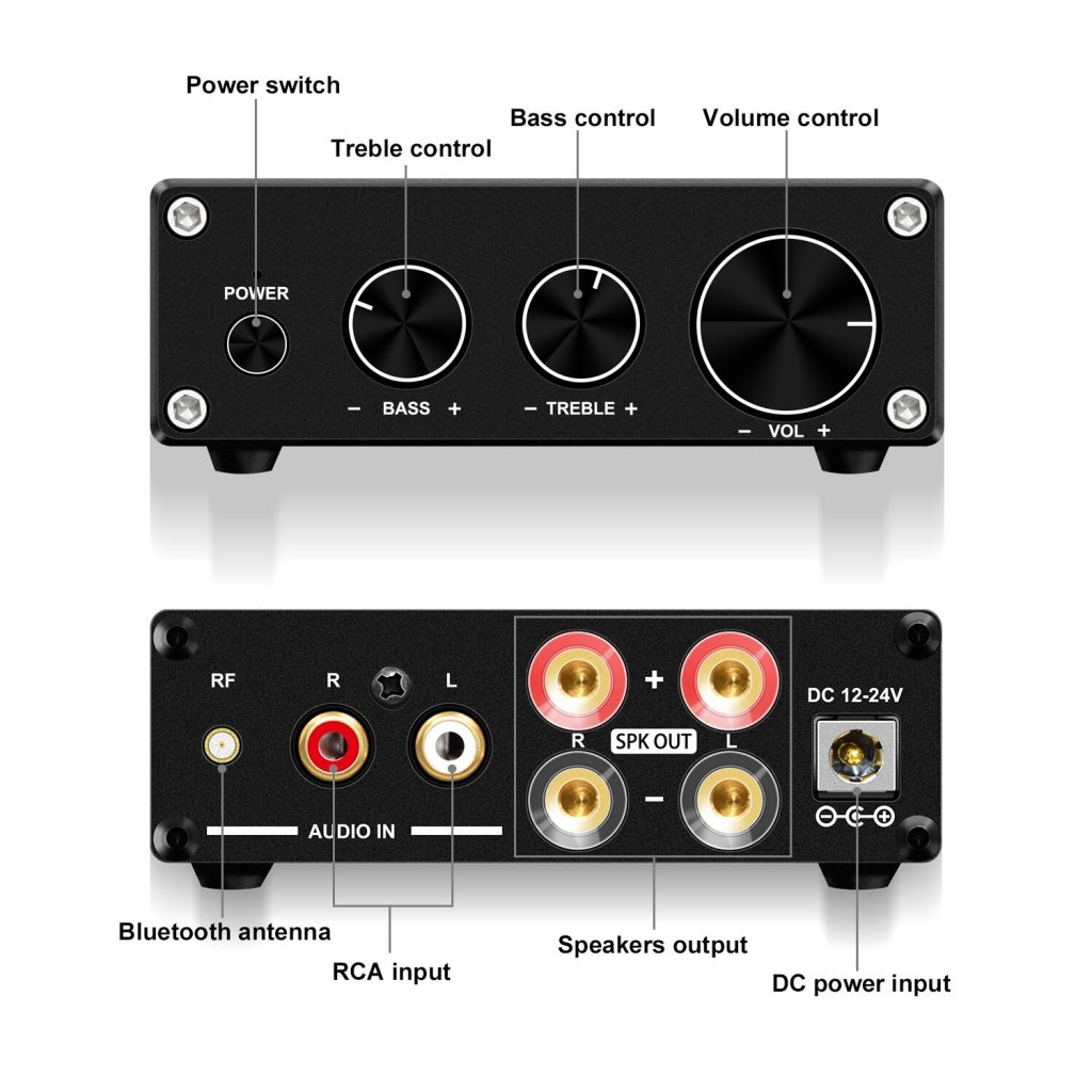 GV-016 50W*2 2CH Audio Bluetooth Amplifier